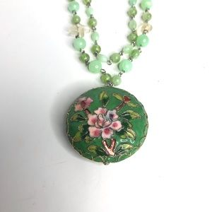 Cloisonné Necklace Green Floral